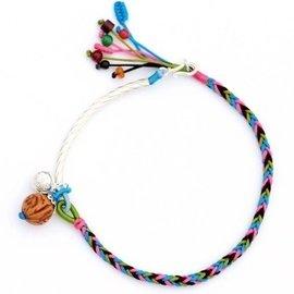 純銀彎管彩虹繩桃核鈴鐺吉祥幸運腳鏈 護身五色繩 送女生友人 請量好腳圍或 身高體重