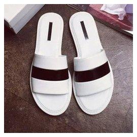 2015女款一字拖鞋條紋彩色涼拖鞋舒適簡約 平底沙灘拖鞋 白色 39