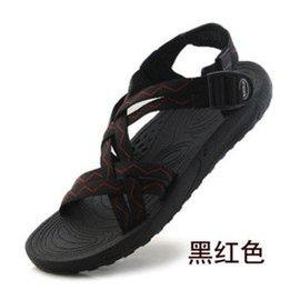 2014夏款戶外涼鞋 涼鞋越南鞋 情侶露趾沙灘鞋大碼涼拖鞋 潮男女涼鞋 黑紅色 37