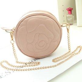 粉色圓形刺繡花朵鼓鏈條包 2014 女包單肩包斜跨迷你小包包