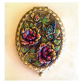 化妝鏡銅復古 制作雙面折疊便攜美容小鏡子工藝 大促