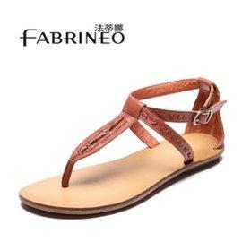法蒂娜夾趾涼鞋 2015 頭層牛皮涼鞋真皮羅馬大碼平跟夾腳涼鞋平底涼鞋女0048 紅棕色