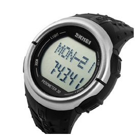 時刻美 智能手表 戶外 表計步測心率電子表多 防水男表1058 銀殼黑面