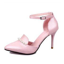 2015  百搭性感漆皮搭扣高跟細跟尖頭串珠淺口中空女涼鞋高跟鞋~815 粉色 39