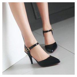 波斯萊 2015 細跟女涼鞋 甜美搭扣尖頭低幫女鞋 優雅性感純色高跟鞋 貨到 黑色 34