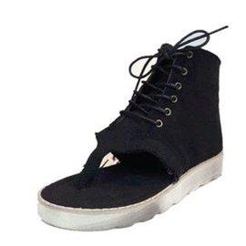 羅馬坡跟松糕夾腳女夾趾平底高幫涼鞋平跟潮鞋繫帶涼鞋~43 黑色 35