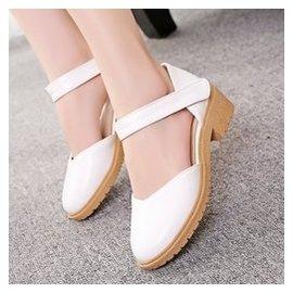 2015春夏 甜美舒適厚底女鞋包頭扣帶低跟涼鞋小圓頭羅馬鞋