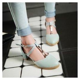 甜美小清新包頭涼鞋女學生夏學院風粗中跟圓頭羅馬搭扣高跟鞋