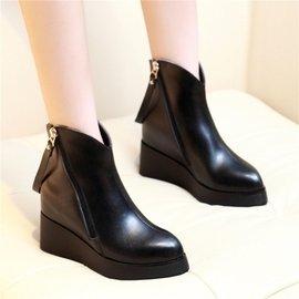 女靴 牛皮坡跟內增高短靴尖頭高跟馬丁靴女鞋英倫真皮短靴
