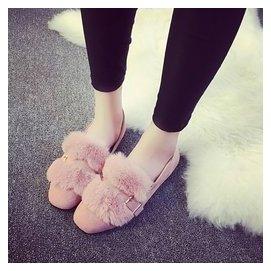 兔毛低跟深口方頭金屬扣 單鞋女毛毛黑色平底鞋女鞋 鞋子女