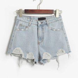 拉絲磨破 破洞高腰牛仔短褲女夏潮淺藍百搭闊腳褲女寬松顯瘦