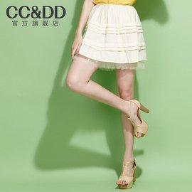 CCDD正品2016夏裝 女裝清新蛋糕褶甜美糖果色蓬蓬短裙