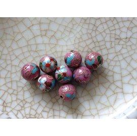 80年代銅胎掐絲琺瑯景泰藍老貨手鏈項鏈耳環配珠10粉紫藍花
