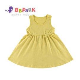 貝貝帕克 女童背心連衣裙 兒童連身裙純棉嬰兒裙子 鵝黃 110