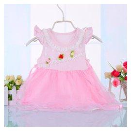 公主女童連衣裙子0~1~2~3歲半女寶寶夏裝 2015 純棉女嬰兒 粉紅色 80