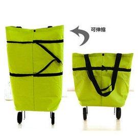 折疊可背式 車 便攜拖輪掛袋 手提包可變買菜車 草綠色可伸縮