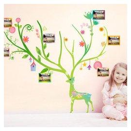 締卡 小鹿照片貼 大型可移除牆貼客廳兒童房臥室照片牆相框牆壁貼紙畫 圖片色 大 1.5寬~