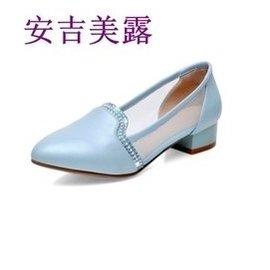 安吉美露春夏 防滑中低跟粗跟單鞋舒適透氣優雅糖果色水鑽涼鞋女大小碼鞋32~42 藍色 39