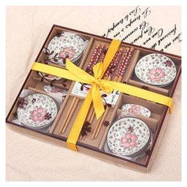 臻銘 婚禮回禮小 商務喬遷 結婚 回禮筷子 十二件套陶瓷碟子筷子套裝 富貴紅花