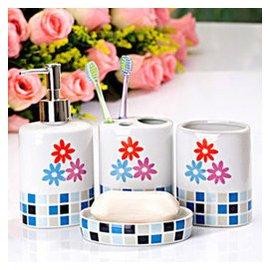 快樂魚 浴室用品廠 衛浴四件套 小花奢華浴室洗漱用品套裝 結婚 008541