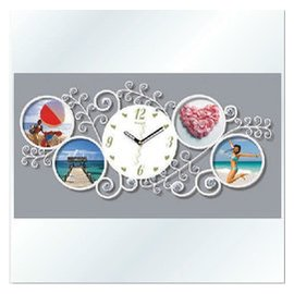 鐵藝鑲鑽掛鐘 相框 藝術田園歐式鐘表 靜音 客廳時鐘