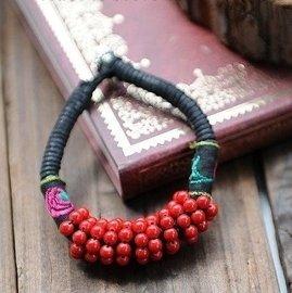 雲南麗江民族風 珊瑚珠手鏈 女轉運手串復古手飾 飾品包郵