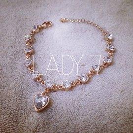 LADY SE7EN甜美瑞麗風 愛心閃鑽 95檳金潮爆鑽石百搭手鏈 包郵