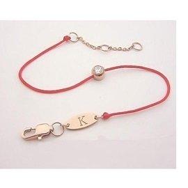 薄版鑲SONA鑽石鈦鋼鍍K金redline範冰冰紅繩手鏈手繩細線本命年女