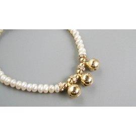 AS TP SD J.C KS 某品牌 淡水珍珠彈力小鈴鐺鑽石手鏈