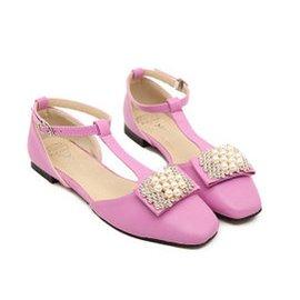 2014 涼鞋 優雅氣質甜美水鑽珍珠T帶低跟女鞋方頭款式