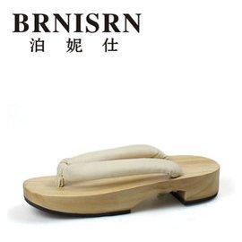 泊妮仕 BRNISRN 木屐 女士拖鞋 人字拖 原木平跟.白