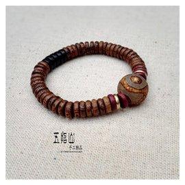 原創 復古三眼藏天珠瑪瑙木珠手串 古樸簡約特色男女情侶手鏈