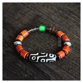金剛九眼天珠 開光天珠手鏈 藏傳民族瑪瑙男女護身復古手串