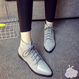 關於短靴2016秋真皮英倫短靴女鞋平底系帶短筒裸靴尖頭平跟及踝靴單靴潮~ ~