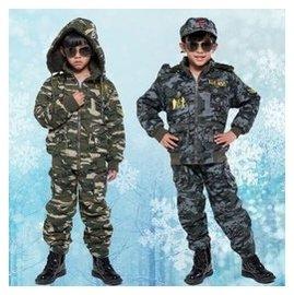 迷彩服男童鼕裝套裝 兒童加絨加厚軍裝 牛仔中大小童迷彩裝