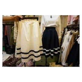 韓國東大門 裙擺雙條紋拼接半身裙高腰裙及膝裙