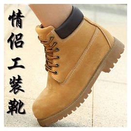 秋鼕英倫工裝靴馬丁靴男軍靴真皮大頭皮鞋女高幫短靴情侶靴大碼潮