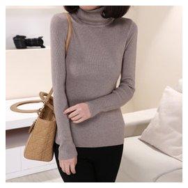 2014秋鼕 短款堆堆領羊絨衫女加厚修身純色羊毛衫套頭打底毛衣