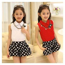 2015夏 女童套裝兒童短袖褲裙兩件套中大童波點雪紡無袖短褲潮