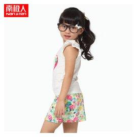 南極人 女童夏裝 品牌 女裙 兒童連衣裙 2015 中大童飛飛袖短袖裙子套裝 462白色