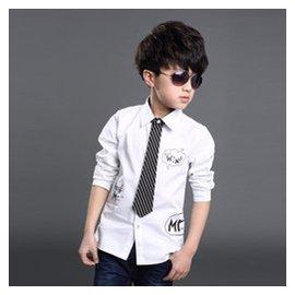 寒天星 男童春裝 襯衣 2015中大童兒童純色長袖襯衫男孩上衣 白色 160