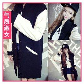 原宿風棒球服拼色袖小立領中長款夾克開衫外套女 2014秋裝