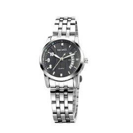 時空男表  手表 夜光指針 日歷手表 時裝表復古表女士腕表7213 黑色女表