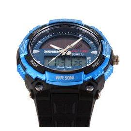 時刻美男士 太陽能手表防水雙機電子潮流戶外 男表學生腕表 1049 藍色