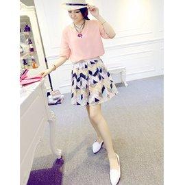 2014 夏裝女裝圓領雪紡衫甜美印花短裙子半身裙兩件套裝Y51211