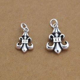 S925純銀泰銀復古克羅心吊墜 diy佛珠水晶手鏈項鏈掛件飾品