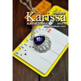 Karissa施家碎鑽紫色貝殼水晶項墜 吊墜 項鏈女 首飾品