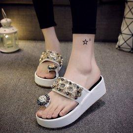 2016 水鉆套趾涼拖鞋女沙灘串珠涼鞋松糕厚底顯白女拖鞋潮