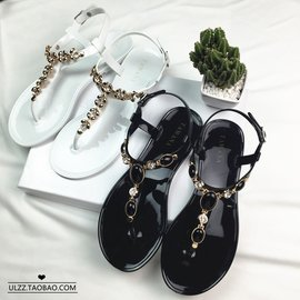 復古波西米亞水鉆平底丁字夾腳涼鞋女平跟沙灘鞋t字型涼鞋夏