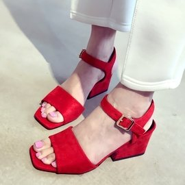 春秋 粗跟魚嘴涼鞋女中跟羅馬高跟鞋露趾中鏤空顯瘦潮